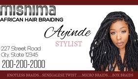 Hair braiding weave business card Visitekaartje template