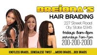 Hair braiding weave business card template