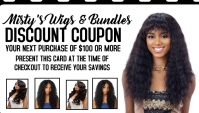 Hair business WEAVE BUNDLES wig sale coupon template