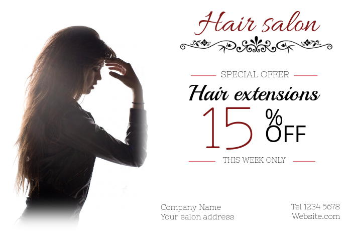 Copy of hair extension salon landscape poster template ...