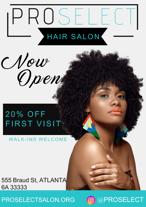 Hair salon A4 Poster template