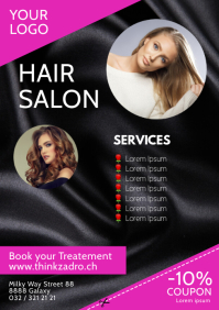 Hair Salon Beauty Studio Flyer Poster Advert A4 template