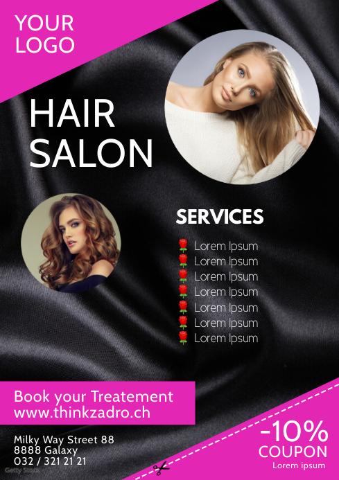 Hair Salon Beauty Studio Flyer Poster Advert A4 template
