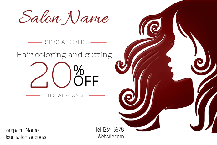 hair salon cutting and coloring sale landscape poster template