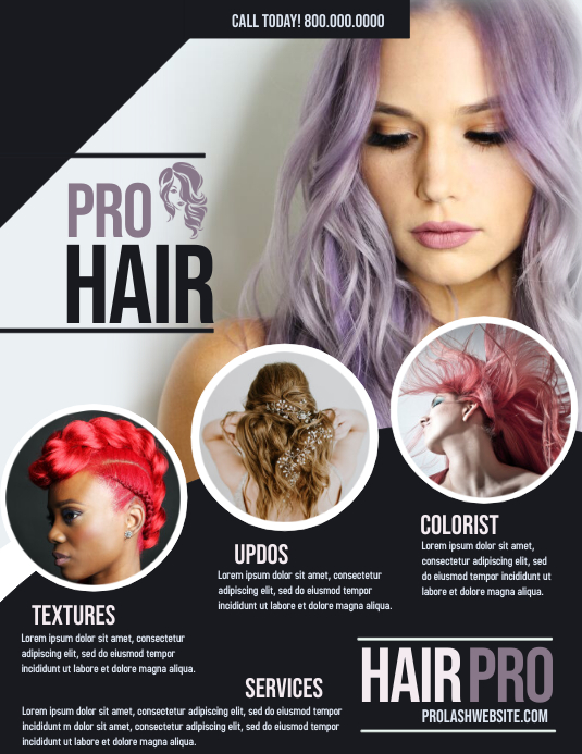 Hair Salon Folheto (US Letter) template