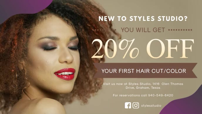 Hair Salon Discount Offer Banner Facebook-omslagvideo (16: 9) template