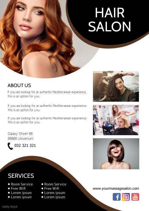 Hair Salon Flyer Services Beauty Studio ad A4 template