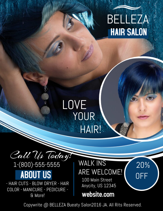 Hair salon template postermywall for Abc beauty salon