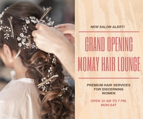 Hair Salon Grand Opening Advertisement Large Rectangle template