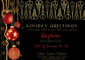 Hair Salon Holiday Greeting Postcard