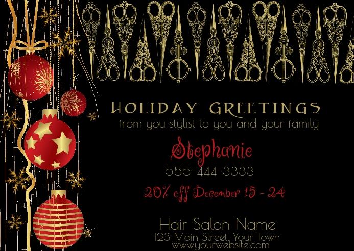 Hair Salon Holiday Greeting Postcard