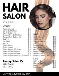 Hair Salon Price List Beauty Haircut Styling