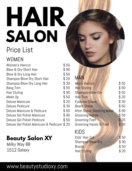 Hair Salon Price List Beauty Haircut Styling Flyer (US Letter) template