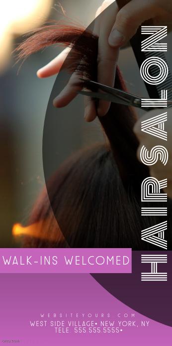 Hair Salon Purple Roll Up Banner Spanduk Gulir Atas 3' × 6' template