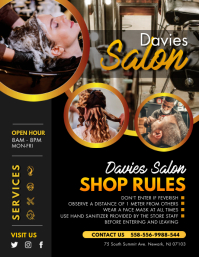 Hair Salon Shop Rules Flyer template