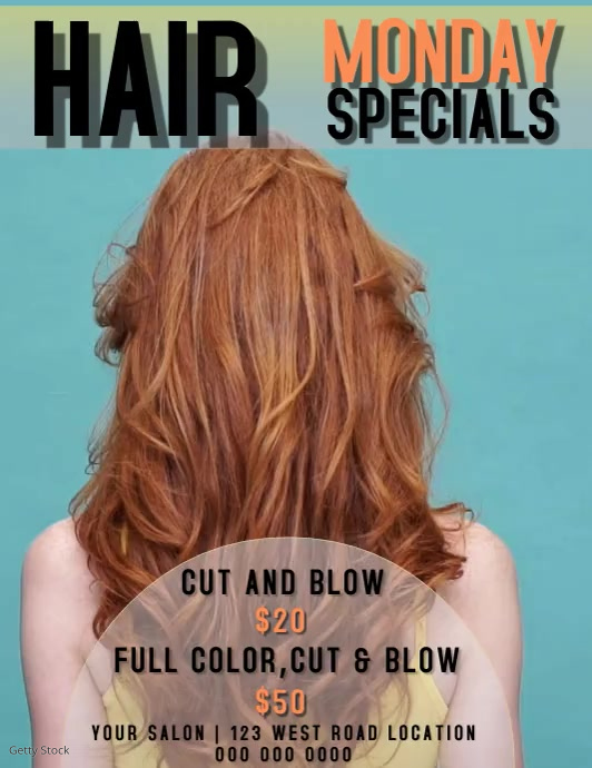 HAIR SALON SPECIALS Flyer (Letter pang-US) template