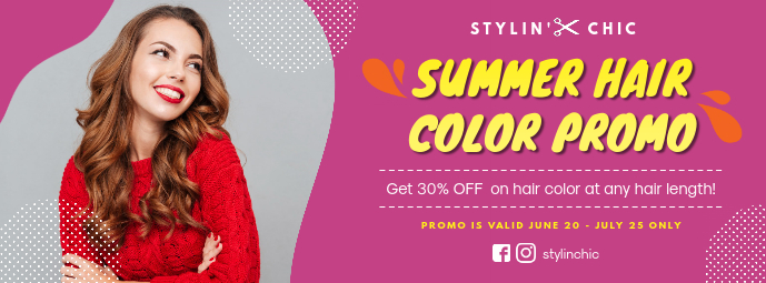 Hair Salon Summer Promo Banner Facebook-coverfoto template