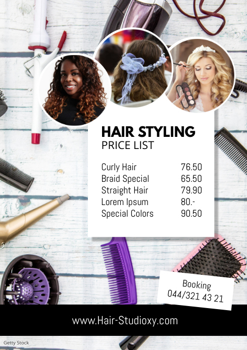 Hair Styling Studio Beauty Salon Flyer Prices