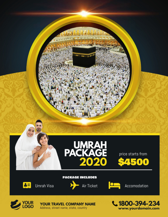 Hajj Umrah Package Flyer Poster Folder (US Letter) template