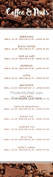 Half Page Coffee Menu Card template