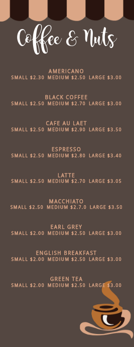 Half Page Coffee Menu Template