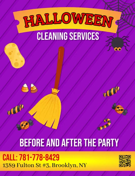 Halloween, Cleaning Services Flyer (US-Letter) template