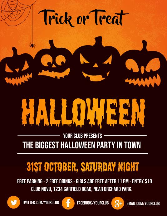 halloween, halloween flyer, pumpkin Volante (Carta US) template