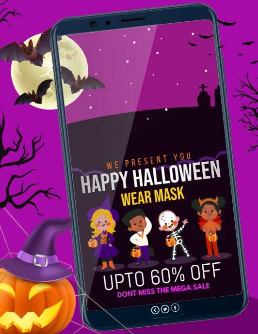 Halloween, Halloween party, Sale Volante (Carta US) template