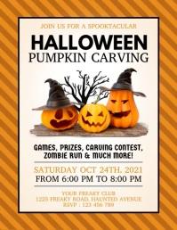 halloween, halloween pumpkin carving contest ใบปลิว (US Letter) template