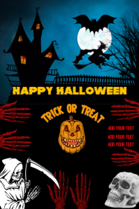 Halloween, happy Halloween poster flyer, trick or treat
