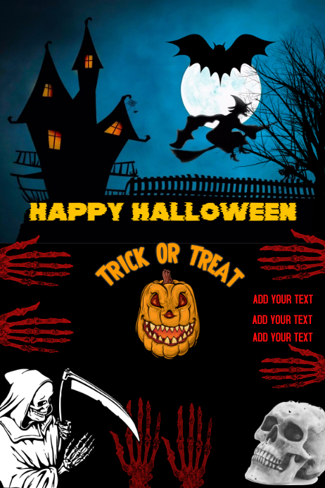 Halloween, happy Halloween poster flyer, trick or treat Póster template