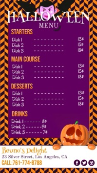 Halloween, Menu Digital Display (9:16) template