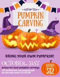 halloween, pumpkin carving, halloween flyer 传单(美国信函) template