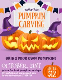 halloween, pumpkin carving, halloween flyer template