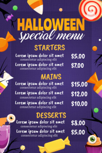 halloween, trick or treat, halloween menu Poster template