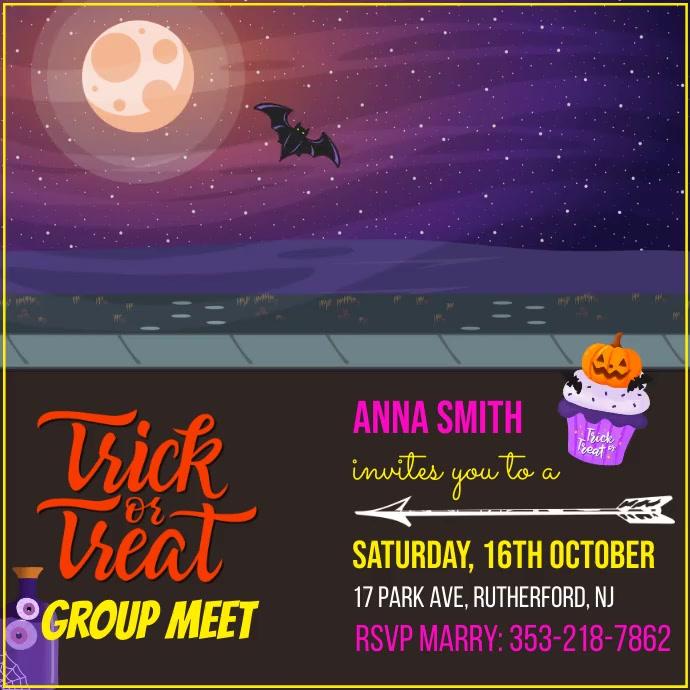 Halloween, Trick or Treat Instagram-bericht template