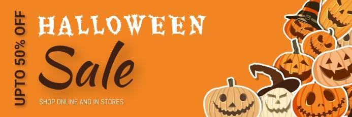 Halloween,Halloween sale,Halloween party Banner 2' × 6' template