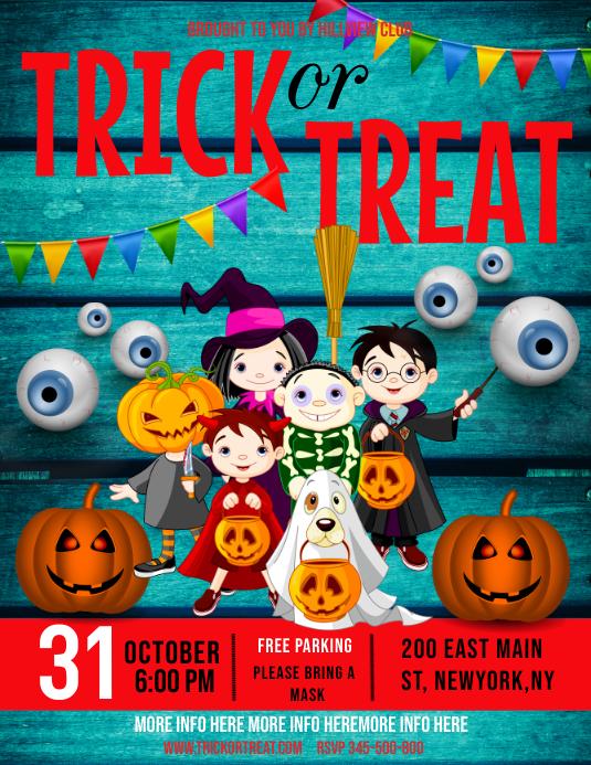 halloween , trick or treat Volante (Carta US) template