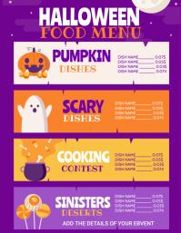 Halloween ,Halloween menu, trick or treat Folder (US Letter) template