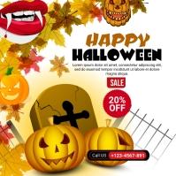 Halloween 20% off sale social media Post template