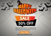 halloween 50% off sale postcard template