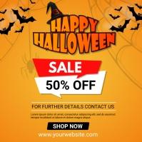 halloween 50% off sale social media Post Wpis na Instagrama template