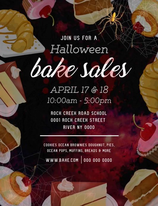 Halloween Bake Sale Flyer Video Volantino (US Letter) template