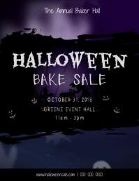 Halloween Bake Sale Ghost Video Рекламная листовка (US Letter) template