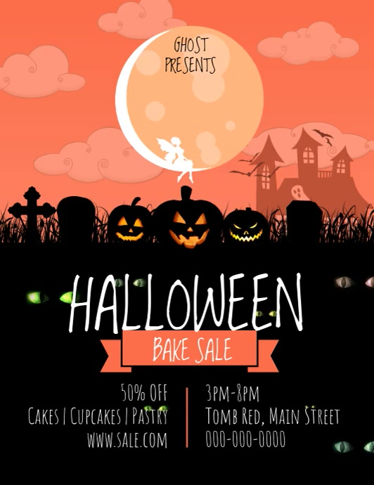 Halloween Bake Sale Pumpkin Video Volante (Carta US) template