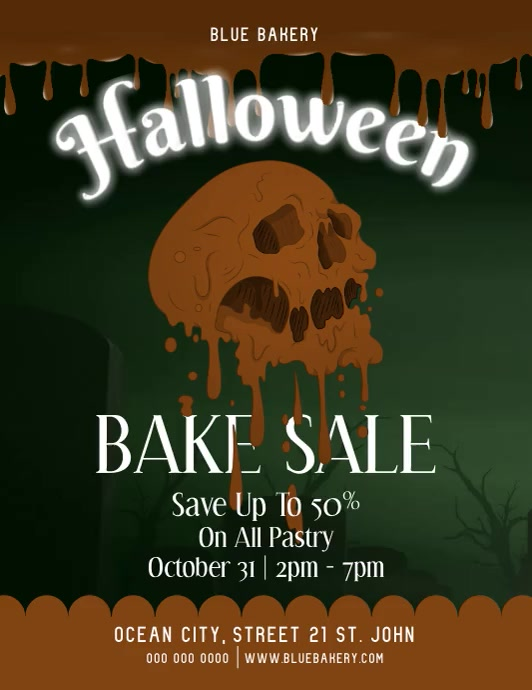Halloween Bake Sale Skull Video Volante (Carta US) template