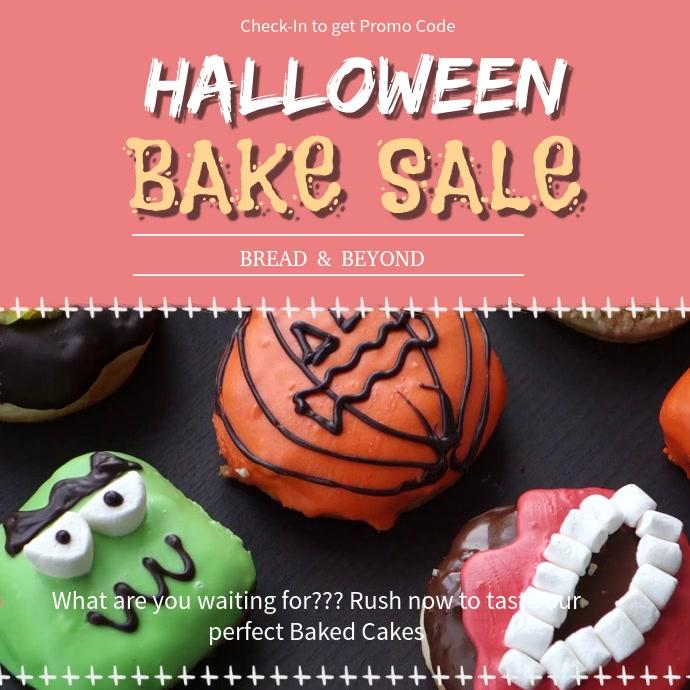 Halloween Bake Sale Square Video Ad Quadrato (1:1) template