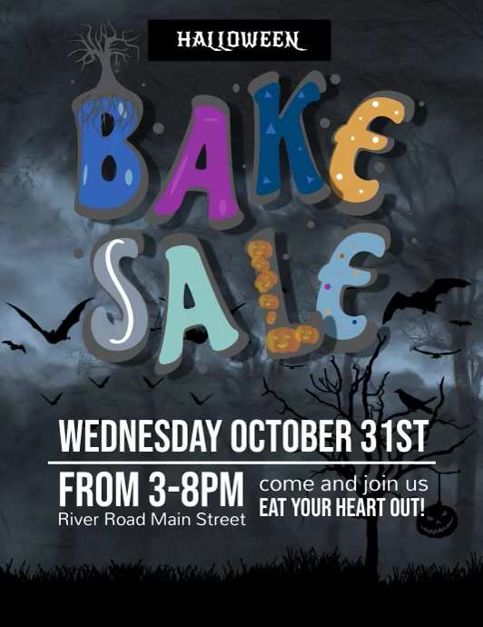 Halloween Bake Sale Thunder Video Flyer (US Letter) template