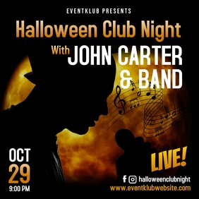 Halloween band concert instagram square ad template