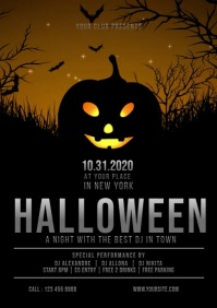 Halloween Bar Club Party Night Poster, Hallow A4 template